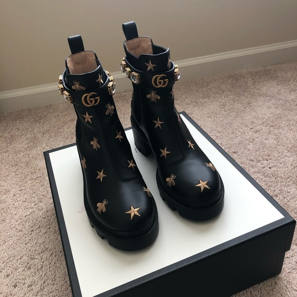 be096a1e Gucci Embroidered Leather Ankle Boot with Belt